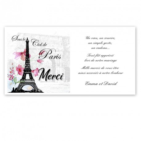 Carton remerciement Paris