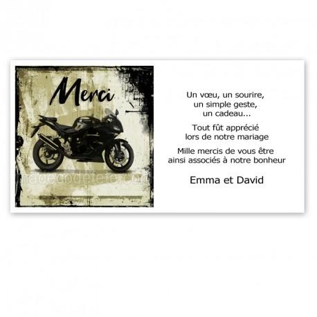 Carton remerciement sur la moto