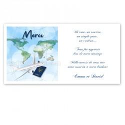 Carton remerciement thème voyage