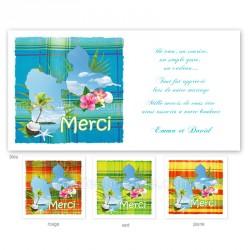 Carton remerciement madras bleu guadeloupe imprimé