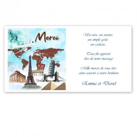 Carton remerciement voyage pays