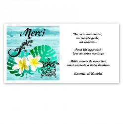 Carton remerciement Polynésie maori