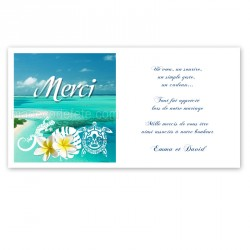 Carton remerciement Polynésie bleue