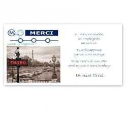 remerciement thème Paris métro