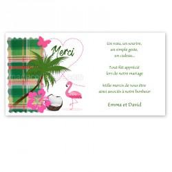 Remerciement madras vert flamant rose
