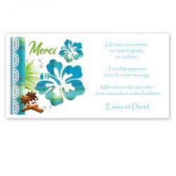 Remerciement fleur hibiscus madras turquoise