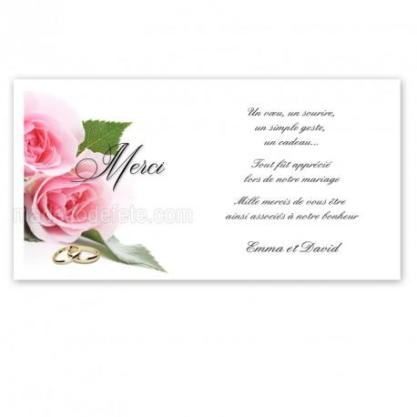 Carton remerciement alliances et roses