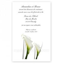 Invitation repas fleur d'arum