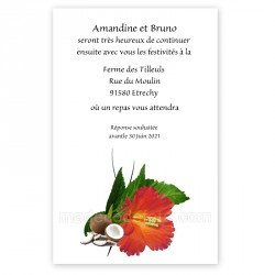 Invitation repas fleur d'hibiscus