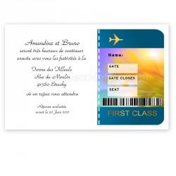 Invitation repas voyage billet avion