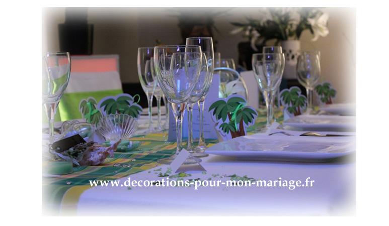 decorations pour un mariage antillais madras anis et jaune