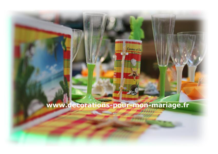 Décorationsn pour mariage antillais mixte avec madras