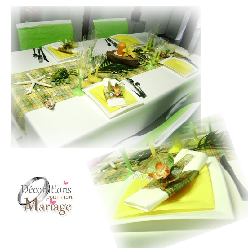 décors de table madras vert jaune ave cchemin de table madras papier