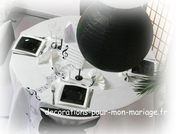 decorations salle de mariage thème sur la musique noir et blancel seine et marne 77