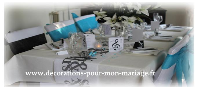 decorations pour un mariage noir blanc turquoise