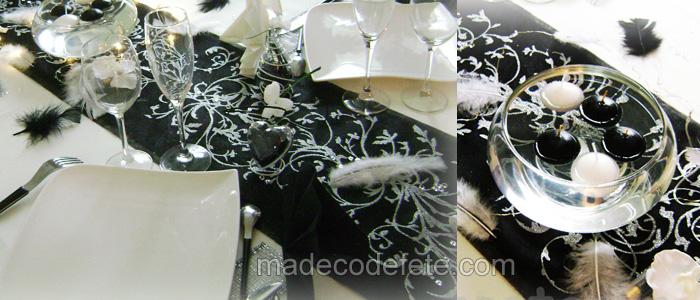 decorations mariage et fêtes baroque noir et blanc