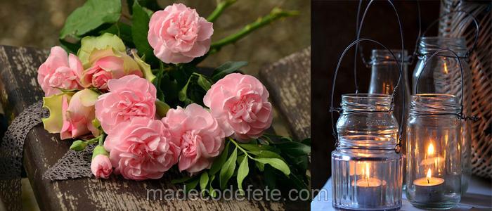 decorations rétro vintage rose et blanc
