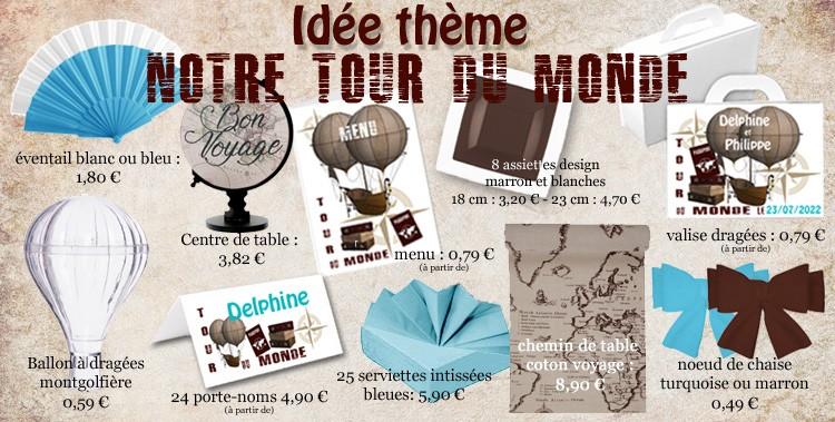 Décorations de table thème voyage tour du monde